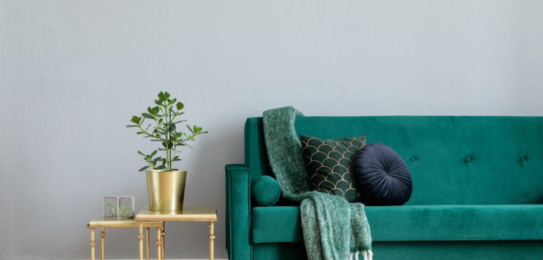 Velour sofa